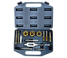 Golden color taps and dies and drills combination hand tool box