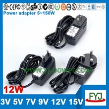Shenzhen ac dc power adapter 12w 12v 9v 7v 5v 3v with CCC CE UL FCC GS C-TICK PSE SAA KC BS