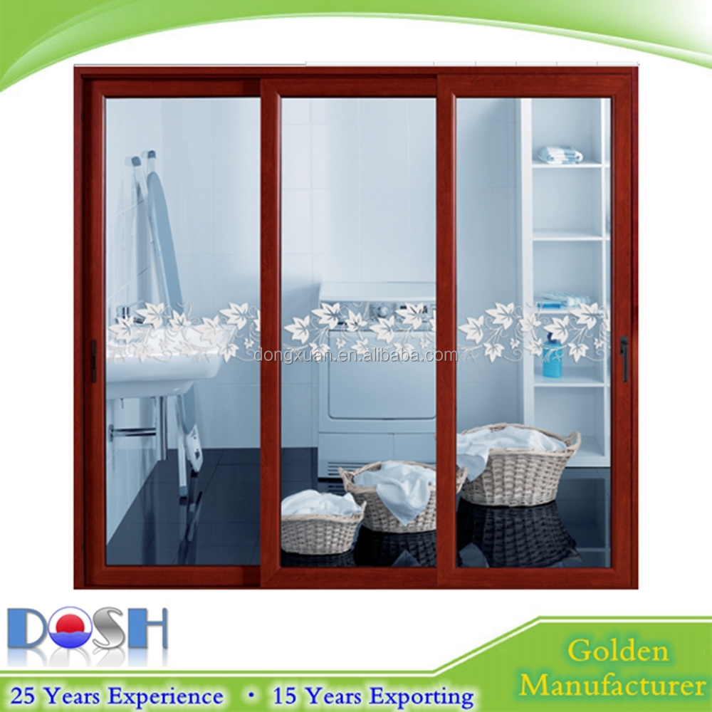 Frameless three panel double three track frosted glass for Three panel sliding glass door
