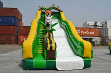 2015 new attractive funny hippo inflatable water slides