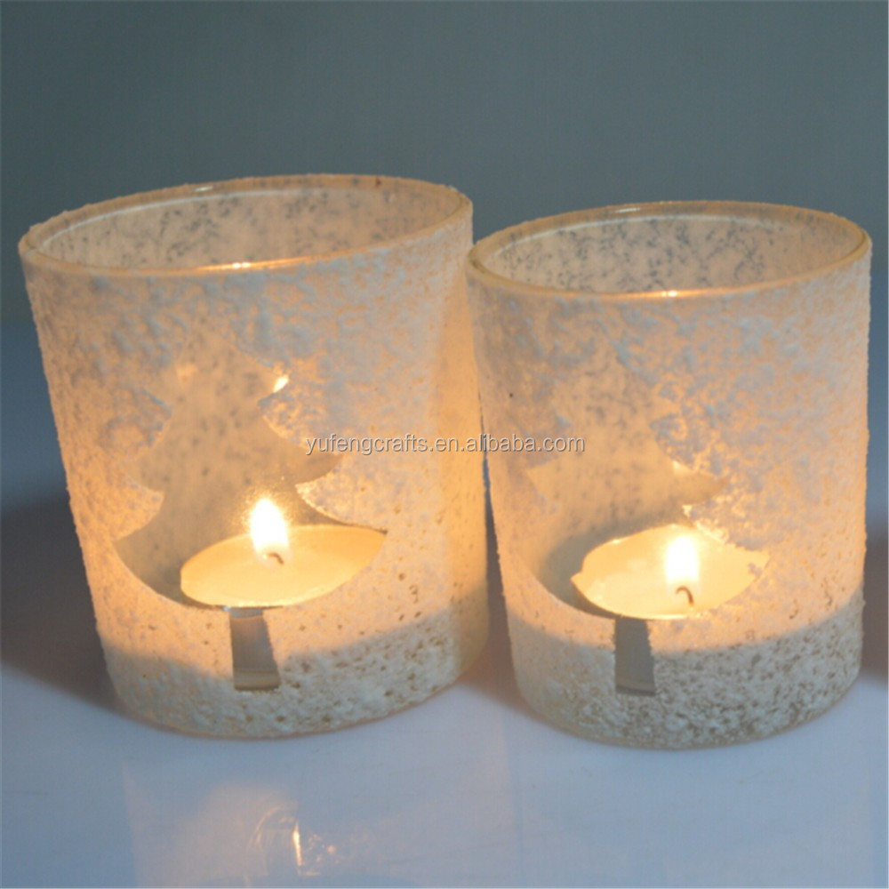 Christmas tree glass candle holder white votive candle for Christmas pillar candle holders