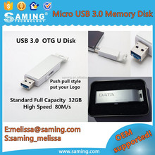 MicroUSB OTG 3.0 USB Flash Drive Smart mobile Phone U Disk Dual double plug Interfaces 8GB 16GB 32GB 64GB Memory drives