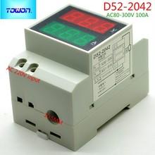 Dual Display Rail D52-2042 AC Digital Voltmeter 80-300V 0.1-99.9A AC amp & volt combo meter
