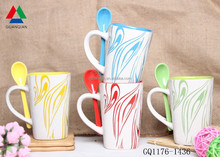 Hot sale ceramic white mug silk screen mug with spoon in handle