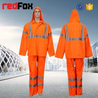 High Visibility reflective safety pvc raincoat