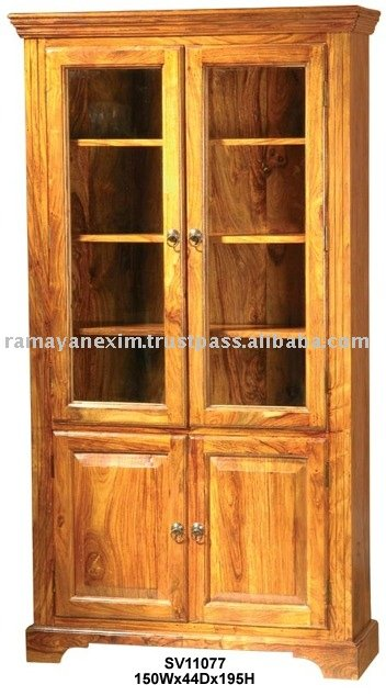 Wooden cabinet showcase display rack glass cabinet almirah for Wooden almirah designs for living room