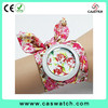 2015 High Quality elegant bracelet floral dial Woman Watch Ribbon Flower Watch