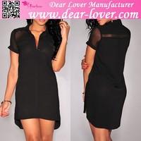 Women Casual Black Button Up Pakistani Long T Shirt Dress