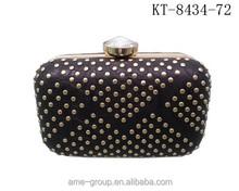 Rhinestone Diamond Open With Rivets PU Leather Women Clutch Evening Handbags