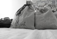 Lingerie bag travel organizer Personalized drawstring linen cotton pouch Bridesmaids Party favors Fabric gift bag