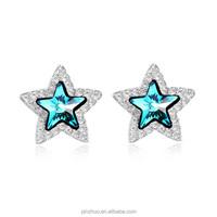 Inspirational stones wholesale , platinum plated blue stone earrings