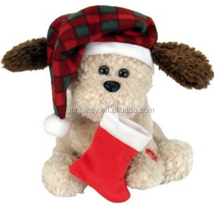 lovely plush christmas dog with warm hat and red sock toy