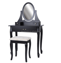Black Wooden Dresser/ bedroom dressing table with mirror / make-up table with mirror and stool