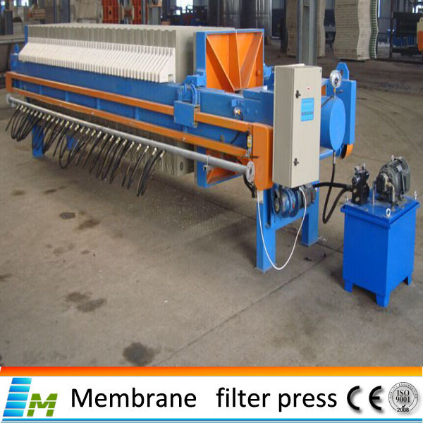 hydraulic membrance filter press Mechanical dewatering using filter presses technology jean pierre deltreil 4th of 11 often using membrane plates filter presses filter presses comprise a set of chamber plates covered by filter clothes and squeezed by a hydraulic cylinder.