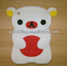 white 3D smart silicon bear case for mini ipad