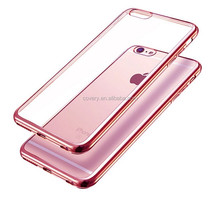 Premium Ultra Slim Lightweight Electroplate Plating TPU silicone bumper Cases for iPhone 6 Rose