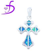 sterling silver jewelry cross synthetic opal cross for women chrome cross pendant