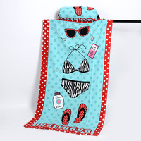 Microfiber printed beach towel with inflatable pillow