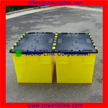 Attached Lids Plastic Solid Totes for Transporting