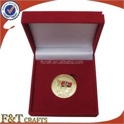 high end decorative best christmas gift set velvet gold sovereign coin box for business partner