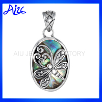 silver abalone shell pendnat with dragonfly