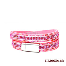 Guangzhou Jewelry Double wrap crystal charm velvet leather cross wrap with alloy buckle around bead bracelet