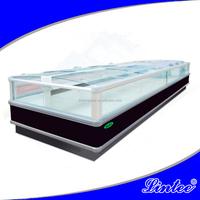 Lintee Glass door double island freezer frozen chicken meat display refrigerator