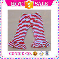 2015 hottest sale red stripe simple ruffle cotton knitted baby girls pants