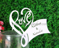 Hot 2015 laser cut heart shaped paper place card for wedding table favours decoration