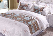 High quality elegant decoration queen size bed runners , fancy 50*50 cm cushion covers design for hotel and household