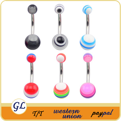 BR01590 UV acrylic nickel free belly button rings