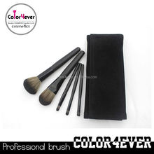 Wholesale!5pcs black travelling makeup brushes with frosted pouch best emilie