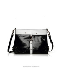 White and Black genuine leather Collocation With pure handmade from Guangzhou Manufacturer female only