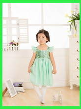 Baby girls party wear green sequin dress girls dresses of party for girls of 12 years old