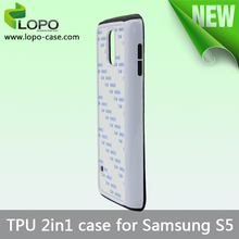 TPU material black/white available 2IN1 sublimation phone case for Samsung Galaxy S5