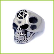 316L Stainless Steel Mens Skull Ring Flower Skull Head Ring