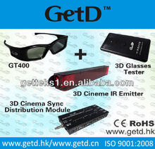 3D IR active system including emitter ,tester,distribution modulator for professional cinema