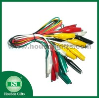 Battery clips alligator clips colored PVC cover colorful 50 cm cable length with terminals 10 pcs crocodile clips