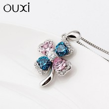 OUXI Four Leaf Clover shaped pendant 925 sterling silver necklace for women