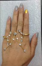 fashion dress gold plated jewelry branch shape crystal hand palm bracelet bangle handlet adjustable