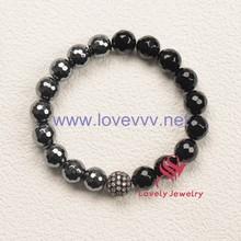 popular 10mm black agate and hematite bead elastic rosary bracelet for men