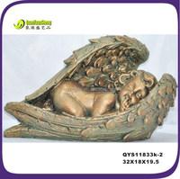 Antique retro polyresin fake brass sleeping baby angel figurine