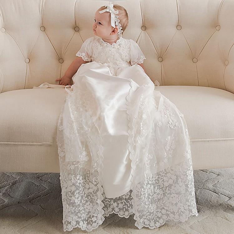 Heirloom-style Back Button Silk Baptism Dress Three Quarter Formal ...