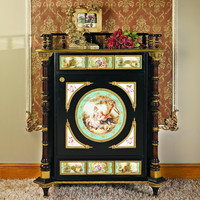 Luxury French Louis XV Style Wooden Side Cabinet/Antique Reproduction Storage Cabinet With Brass & Porcelain,Decor Curio Cabinet