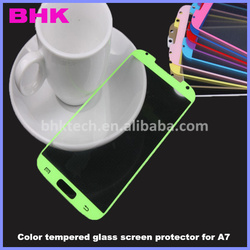 9H electrostatic adsorption silicone color tempered glass screen protector for A7,colorful tempered glass screen shield