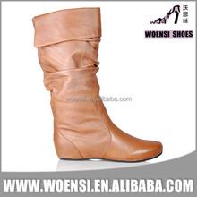 2015 sexy warm fashion ladies quality cheap long flat heel PU boots