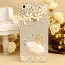 handmade flower transparent back for iphone 6 plus 5.5 inch Case diamond ballerina DIY 100% bling cover