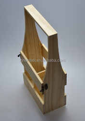 Natural color solid pine wood wine carrier,2 bottle wooden tote accept OEM