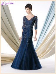 best selling factory wholesale price sexy V neck mermaid tulle teal lace mother of the bride dress with sleeves