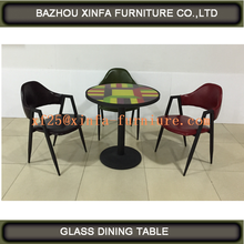 Hot sale tempered glass round dining table set DT1249